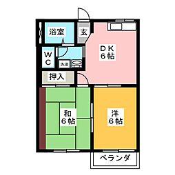 ソレーユミツムロB[2階]の間取り