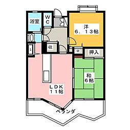 ふぁみーゆ中島田[2階]の間取り