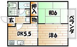 ビーライン中井II[1階]の間取り