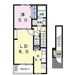ロイヤルレジデンス 虹の小径I(アパート) 2階1LDKの間取り