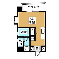 スクエア栄 2階ワンルームの間取り