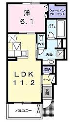 兵庫県神戸市北区北五葉1丁目の賃貸アパートの間取り