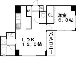ルーエ五条堀川[7階]の間取り