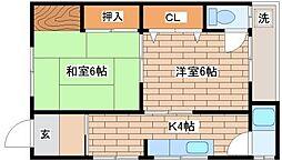 兵庫県神戸市須磨区妙法寺字大門の賃貸アパートの間取り