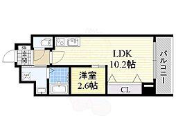 Osaka Metro谷町線 天満橋駅 徒歩3分の賃貸マンション 10階1LDKの間取り