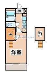 近鉄奈良線 瓢箪山駅 徒歩30分の賃貸マンション 2階1Kの間取り