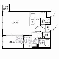 札幌市営東豊線 豊平公園駅 徒歩6分の賃貸マンション 1階1LDKの間取り