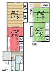 JR総武本線 八街駅 徒歩25分の賃貸テラスハウス 1階3LDKの間取り