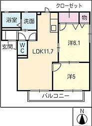 コンフォールメゾンB棟[2階]の間取り