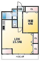 グロワール北江口 2階1LDKの間取り