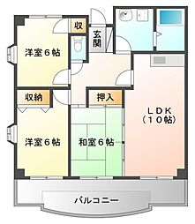 カルム土井[2階]の間取り