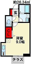 M-2 1階ワンルームの間取り
