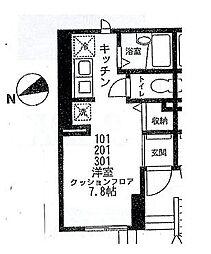 小田急小田原線 千歳船橋駅 徒歩5分の賃貸マンション 3階ワンルームの間取り