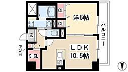 仮)弥富通マンション 8階1LDKの間取り