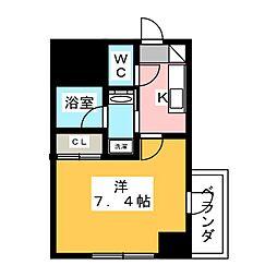 ヴィークブライト名古屋東別院 3階1Kの間取り