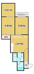 京阪本線 古川橋駅 徒歩15分の賃貸マンション 4階3LDKの間取り