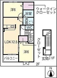 愛知県田原市大久保町黒河の賃貸アパートの間取り