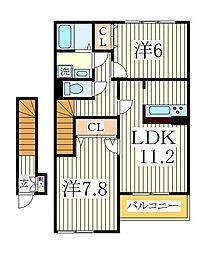 千葉県流山市加6丁目の賃貸アパートの間取り