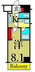 東京メトロ日比谷線 南千住駅 徒歩9分の賃貸マンション 11階1Kの間取り