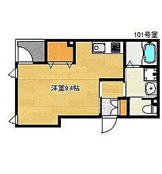 クードシャンスVI 1階ワンルームの間取り