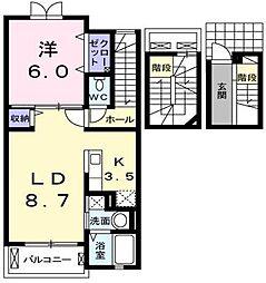 東京都羽村市小作台3丁目の賃貸アパートの間取り