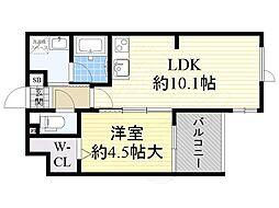 JR東海道・山陽本線 吹田駅 徒歩6分の賃貸マンション 1階1LDKの間取り