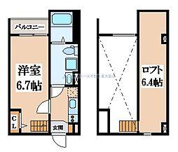 大阪府東大阪市桜町の賃貸アパートの間取り
