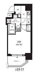 Osaka Metro中央線 堺筋本町駅 徒歩4分の賃貸マンション 8階1Kの間取り
