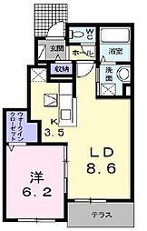 高松琴平電気鉄道長尾線 長尾駅 徒歩28分の賃貸アパート 1階1LDKの間取り