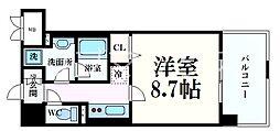 シェリール六甲道 2階1Kの間取り