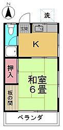田中荘[205号室]の間取り