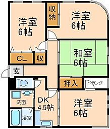大阪府枚方市東香里元町の賃貸マンションの間取り