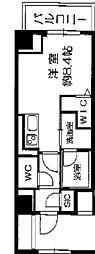 Osaka Metro長堀鶴見緑地線 西長堀駅 徒歩3分の賃貸マンション 10階ワンルームの間取り