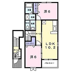愛知県岡崎市矢作町字北河原の賃貸アパートの間取り