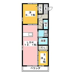 SeaSide西湘 1階2LDKの間取り