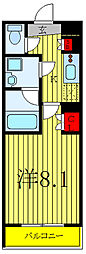 VERXEED板橋NORTH 5階1Kの間取り