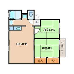 JR桜井線 櫟本駅 徒歩20分の賃貸アパート 2階2LDKの間取り