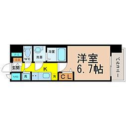名古屋市営東山線 伏見駅 徒歩8分の賃貸マンション 5階1Kの間取り