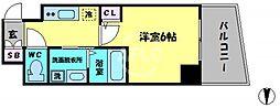 エステムコート大阪新町 5階1Kの間取り