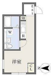 東急田園都市線 三軒茶屋駅 徒歩8分の賃貸マンション 4階ワンルームの間取り