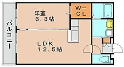 福岡県福岡市博多区半道橋1丁目の賃貸マンションの間取り