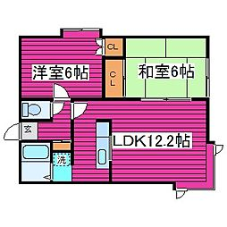 北海道札幌市東区北四十五条東1丁目の賃貸アパートの間取り