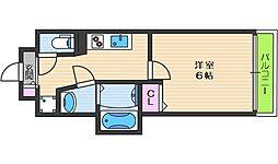 プレミアムコート天王寺EAST 10階1Kの間取り