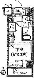 クラリッサ川崎ブルーノ 10階ワンルームの間取り