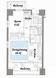 東京メトロ丸ノ内線 後楽園駅 徒歩7分の賃貸マンション 4階1LDKの間取り