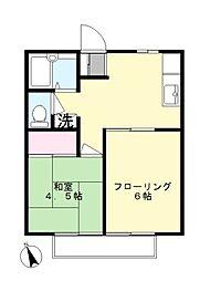ベルナール栗木台[2階]の間取り