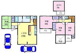 近鉄南大阪線 恵我ノ荘駅 4kmの賃貸一戸建て 1階4LDKの間取り