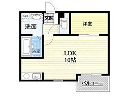 京阪本線 枚方市駅 バス9分 香里橋下車 徒歩3分の賃貸アパート 3階ワンルームの間取り