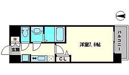 アドバンス大阪城シュアーヴ 4階1Kの間取り