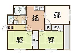 Osaka Metro谷町線 野江内代駅 徒歩11分の賃貸マンション 5階3DKの間取り